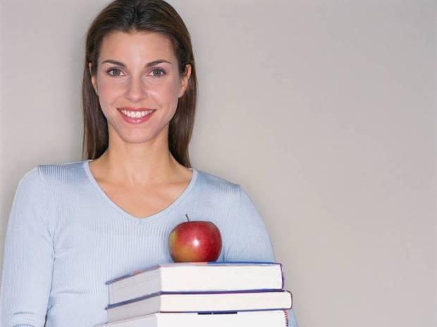 Teacher with apple