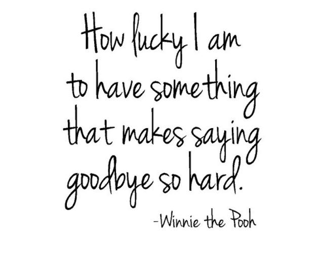 Que sortuda que sou por ter algo que faz ser tão difícil dizer adeus!